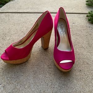 Jessica Simpson Hot Pink Platforms!